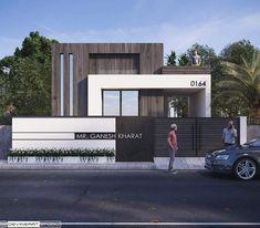Modern Exterior House Designs, Modern House Design, Exterior Design, Building Elevation, House Elevation, Compound Wall Gate Design, Front Elevation Designs, Boundary Walls, House Front Design