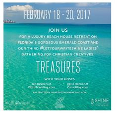 Ladies how about your spot at our third #LetYourWriteShine retreat under the tree?------------------ February 2017 Destin Florida Retreat Join us for a luxury beach house retreat on Floridas gorgeous Emerald Coast and our third ladies gathering for Christian creatives.  February 18-20 2017 This is a fabulous and intimate Christian Womens Creative Writing Retreat!  Join together in the Lords Splendor at the Newman-Daily Resort Properties in Destin Florida for a time of refreshment worship…