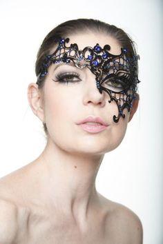 Elegant-Black-Blue-Rhinestone-Venetian-Laser-Cut-Masquerade-Mask-L2007BLBK-Prom