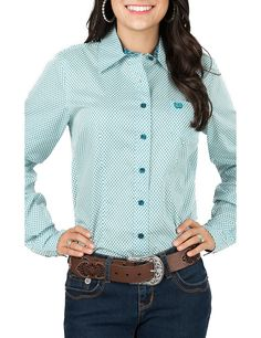 Cinch Ladies Teal and White Print Long Sleeve Western Shirt | Cavender's