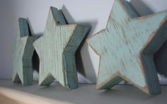 Wood Stars Recycled Painted Distressed Home Decor Wall Art