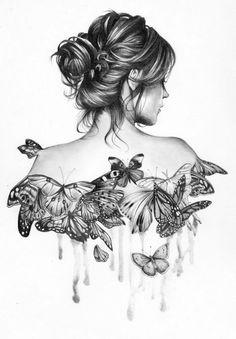 dessin femme #dessin #draw #drawing #sketch #art #femme #woman #papillon