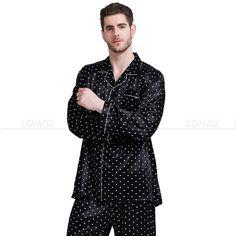 Mens Silk Satin Pajamas Pyjamas Set Sleepwear S~4XL Plus Size