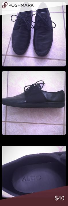 Aldo Shoes I'm selling a pair of Aldo shoes size 12. The material is black leather and the shoes themselves have only been worn a few times. Aldo Shoes Sneakers