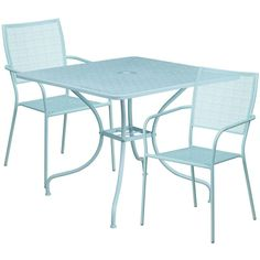 Westbury Square 35.5'' Sky Blue Steel Table Set w/2 Square Back Chairs for Restaurant/Bar/Pub/Patio, Size 3-Piece Sets, Patio Furniture