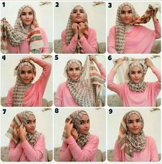 Tutorial Hijab By Mayra Hijab: Cara-Cara Berhijab Terbaru Untuk Wajah Bulat Simple Hijab Tutorial, Hijab Style Tutorial, How To Wear Hijab, Hijab Wear, Hijab Outfit, Stylish Hijab, Hijab Chic, Muslim Hijab, Hijab Fashion Inspiration