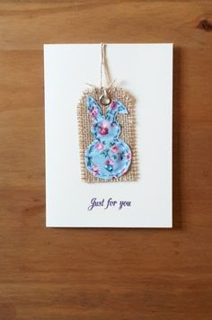 Hanging Bunny Tag Card by HandmadeByHoppy on Etsy