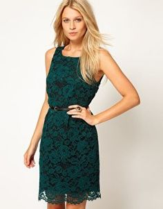 REVEL: Green Lace Belted Dres