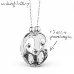 Loving Family-ketting met Gravering (2 ouders met 3 kinderen)
