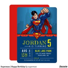 Celebrate your child's superhero birthday with these cool Superman birthday invitations. Personalize by adding your party details. Superman Happy Birthday, Superhero Birthday Party, 5th Birthday, Superman Party Theme, Superman Party Decorations, Disney Birthday, Birthday Ideas, Birthday Parties, Create Your Own Invitations