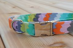 Colourful Dog Collar Bright Colours Orange Purple by WalkintheBark