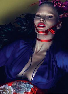Lara Stone wears Saint Laurent by Hedi Slimane silk dress. Mokuba ribbon; Angels the Costumiers obi.