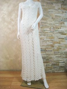 Exclusive ivory crochet lace wedding dress, lace bridal dress, crochet wedding…