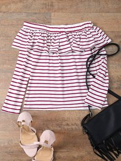 SHARE & Get it FREE | Striped Off The Shoulder Ruffles Top - Red With WhiteFor Fashion Lovers only:80,000+ Items • New Arrivals Daily Join Zaful: Get YOUR $50 NOW!
