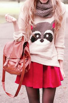 Raccoon sweater! This is so cute! I dunno if I could get away with this, but it is adorable.