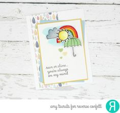 Card by Amy Tsuruta. Reverse Confetti stamp set and coordinating Confetti Cuts: Weather It Together. RC 6x6 paper pad: Under the Umbrella. Friendship card. Encouragement card.