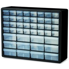 Organize and identify your items with ease with this clear plastic storage cabinet. Stacked securely, these strong polypropylene dividable drawers offer finger-grip drawer pulls for simple access and