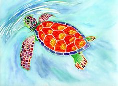 This is a realistic sea turtle with a surreal spectrum of colors! It is a prime example of my segmented style with an eye catching array of colors and is acialable for purchase at www.etsy.com/shop/segmentedart