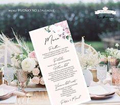 Svatba v růžové s pivoňkami v přírodním a rustikálním stylu. #svatba #budeveselka #boho #beremese #svatebnioznameni #prirodnisvatba #bohosvatba Place Cards, Menu, Place Card Holders, Table Decorations, Boho, Design, Menu Board Design, Bohemian