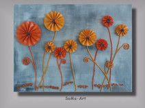 3D Blumen auf Keilrahmen #005