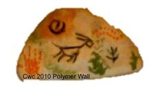 Polymer wall - painted with pseudo ancient symbols for an aboriginal gourd commission.