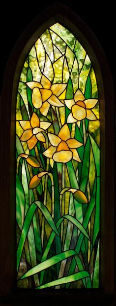 Daffodils-framed stained glass