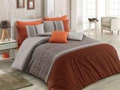 Dose Of Modern Spencer Ranforce Single Quilt Cover Set (ES) - Orange Brown Grey Beige Single Quilt, Grey And Beige, Orange Brown, Quilt Cover Sets, Comforters, Duvet Covers, Blanket, Bed, Modern