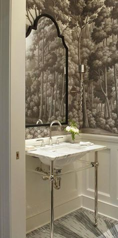 Ritz-Carlton Showcase Apartment by Frank Ponterio   Traditional Home Note:  Tile and wall covering