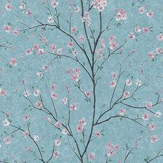 Quaint Cherry Blossom Teal Wallpaper - Default Title