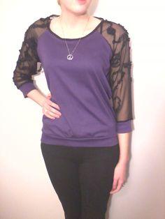 Purple 3/4 Sleeve Cotton Top
