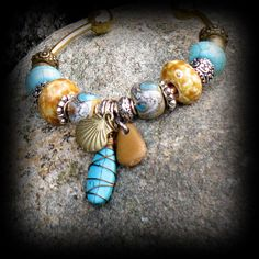 Lampwork Cuff Bracelet Tribal Wearable Art by FishBaySunsets, $35.00