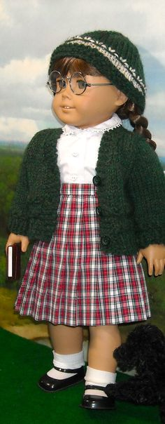 Classic Pleated Skirt, Blouse and Sweater with Hat for Molly by SugarloafDollClothes via Etsy $65.00
