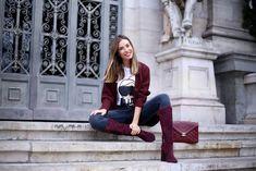 blog de zapatos pura lopez marta carriedo con botas altas color burdeos tacon ancho