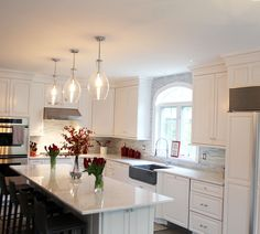 Like backsplash - http://classicrefinishers.com - Fine Finish White Tinted Lacquer Cabinets - These previously painted kitchen cabinets didn't last very long. Paint is not a durable finish for kitchen cabinets and cracks and discolors over time. For …