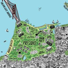 Hand Drawn Map Of San Francisco Art Print | Art Prints & T-shirts from Evermade