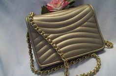 MINT Beautiful Quilted Gold Metallic Faux Leather Gold Chain Shoulder Bag - Cross Body Bag - Womens