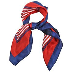 Red White & Blue Satin Square Neck Scarf ($15) ❤ liked on Polyvore featuring accessories, scarves, satin shawl, red bandana, colorful shawl, red handkerchief and beach shawl