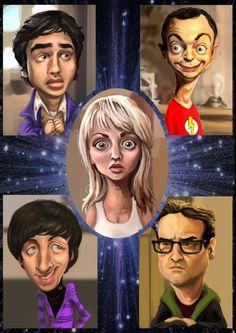 Caricatura de The Big Bang Theory Use for description ¿Cómo son? Ella es rubia. Tiene el pelo largo y los ojos grandes... ¿Cómo están? Preocupado, contento... (Caricatura de The Big Bang Theory)