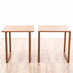 This pair of end tables is featured in a solid wood with a glossy teak finish. Each Danish Modern style side table has a square top with matching square base. Sleek and stylish tables that are perfect for any living room! #danishmodern #tables #endtable #sandiegovintage #vintagefurniture