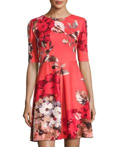 Floral-Print+Scuba+Fit+&+Flare+Dress,+Red+Pattern+by+Taylor+at+Neiman+Marcus+Last+Call.
