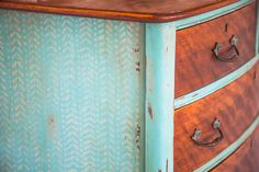 Dresser - original wood and paint mixed - plus cool pattern on side