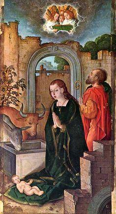 """El cuadro """"El nacimiento de Jesús"""" de Juan de Flandes (m. c. 1519) (pintura flamenca)"""