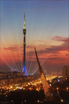 Rare view of Moscow: the Ostankino Television and Radio Tower and the Monument… #moscowrussia