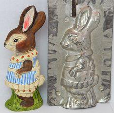 Chalkware Rabbit in Dress from an antique chocolate mold | Bittersweet House Folk Art
