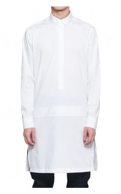 Requichot - White Long Henry Neck Shirt | unconventional