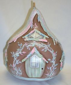 Gingerbread House Gourd  Hand Painted Gourd by FromGramsHouse