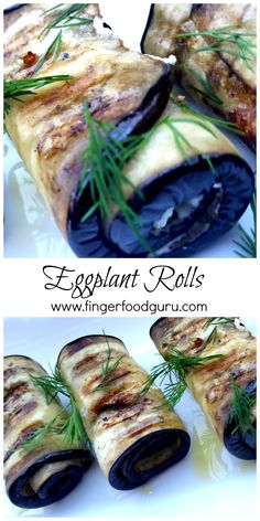 Beautiful Purple Eggplant Rolls stuffed with Herb Goat Cheese.