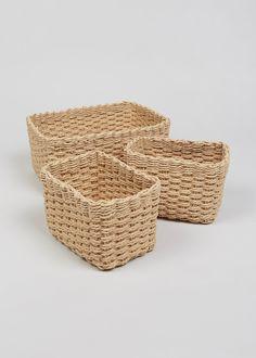 Set of 3 Paper Rope Storage Baskets – Natural – Matalan