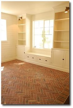 herringbone brick vinyl flooring | Flooring Ideas For A White Room