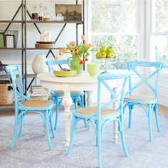 Beachy Kitchen Table are ideal for casual dining, but in addition they function as a fantastic food preparation area. Blue Kitchen Tables, Modern Dining Room Tables, Wooden Dining Tables, Dining Room Design, Dining Room Furniture, Design Kitchen, Dining Set, Modern Furniture, Dining Chairs